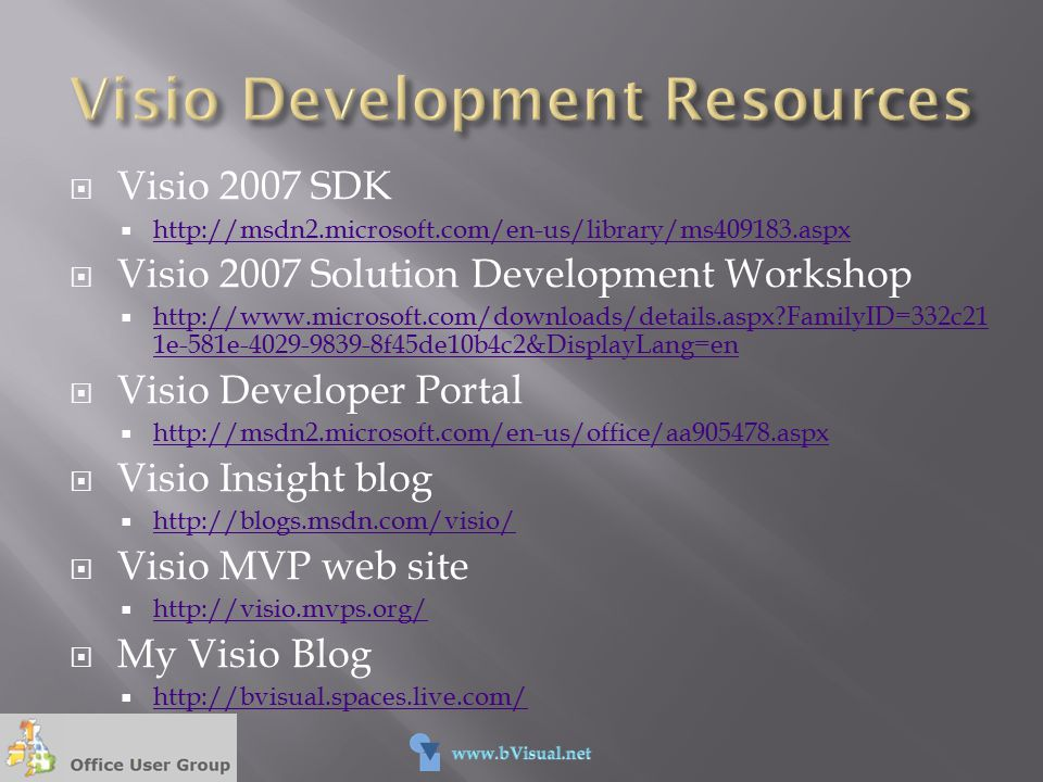 Visio Development Resources