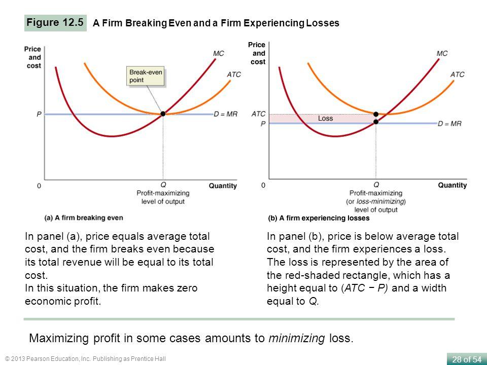 Maximizing profit in some cases amounts to minimizing loss.