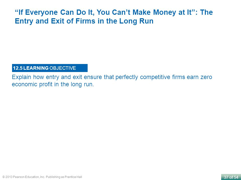 If Everyone Can Do It, You Can't Make Money at It : The Entry and Exit of Firms in the Long Run
