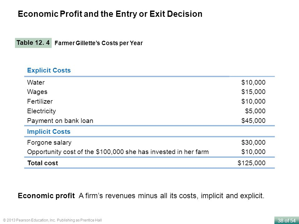 Economic Profit and the Entry or Exit Decision