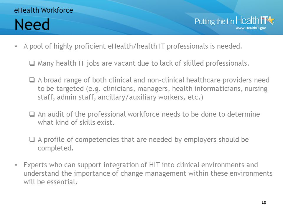 eHealth Workforce Goals/Objectives
