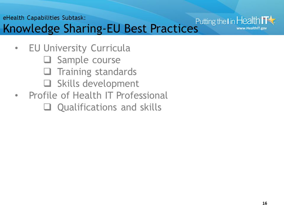 EU Challenges and Gaps Curricula Training standards Skills development