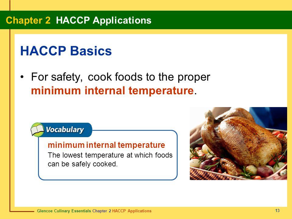 HACCP Basics For safety, cook foods to the proper minimum internal temperature. minimum internal temperature.