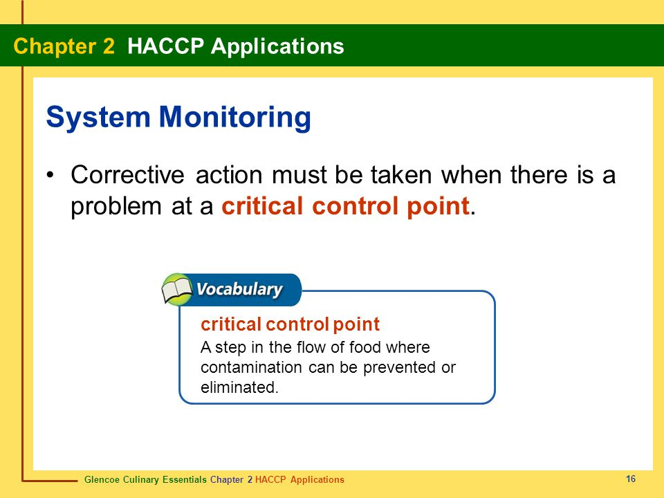 System Monitoring Corrective action must be taken when there is a problem at a critical control point.