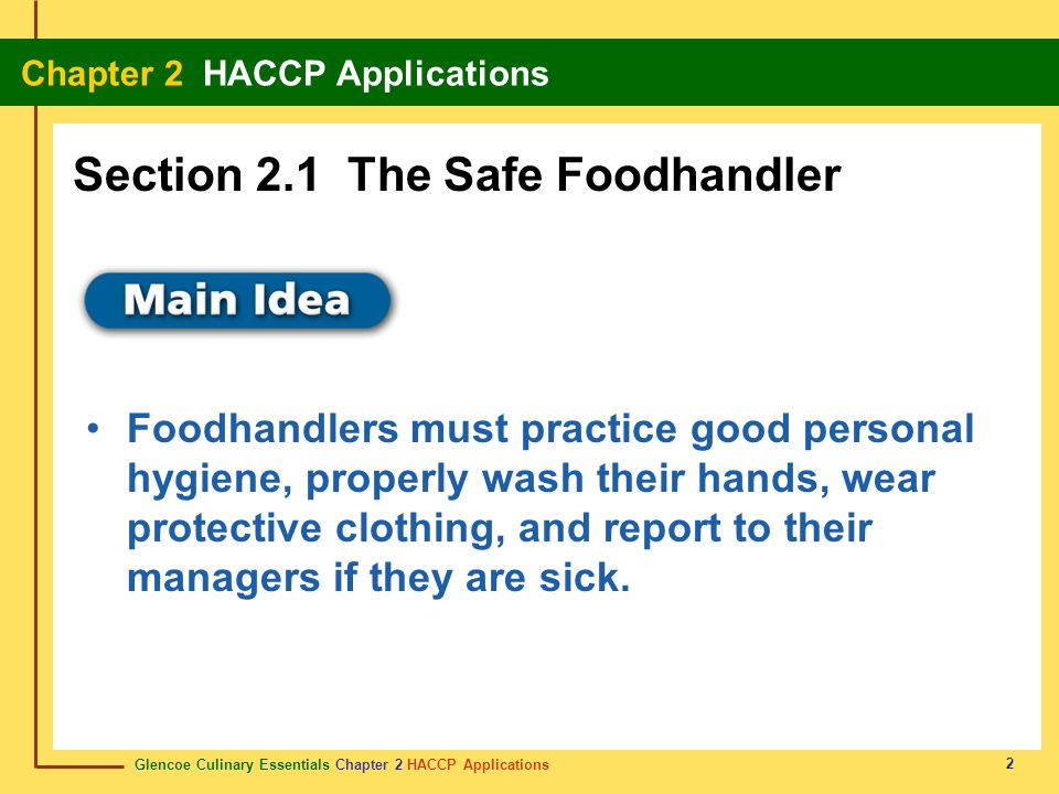 Section 2.1 The Safe Foodhandler