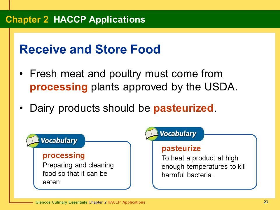 Receive and Store Food Fresh meat and poultry must come from processing plants approved by the USDA.