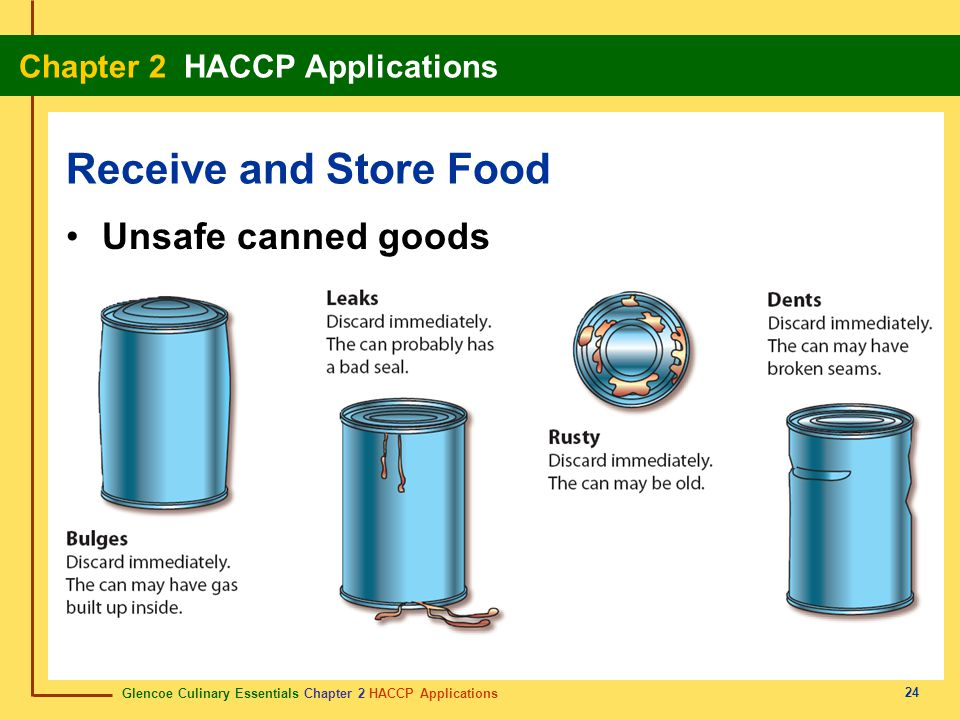 Receive and Store Food Unsafe canned goods