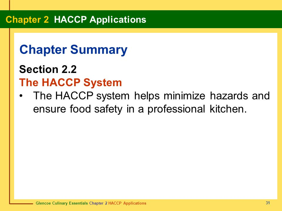Chapter Summary Section 2.2 The HACCP System
