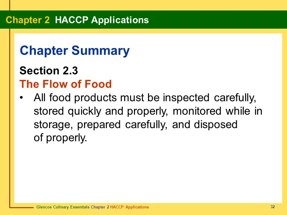 Chapter Summary Section 2.3 The Flow of Food