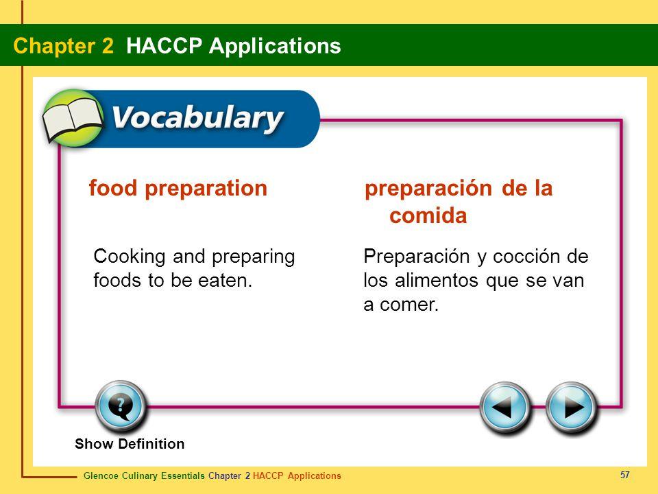 food preparation preparación de la comida