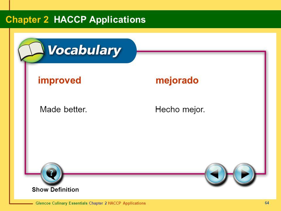 improved mejorado Made better. Hecho mejor.
