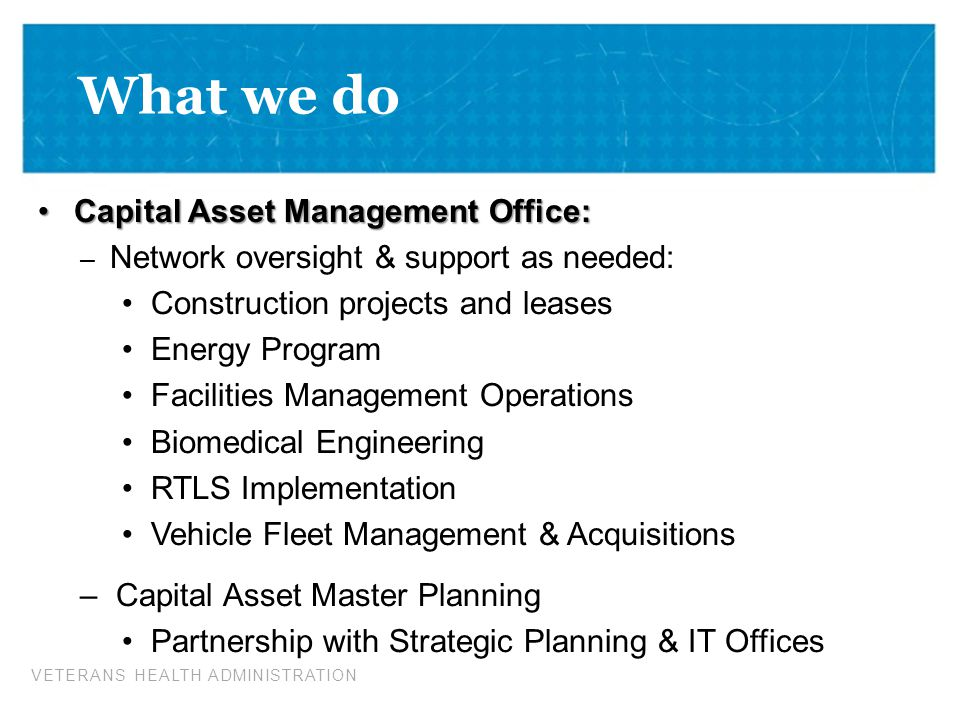 What we do Capital Asset Management Office: