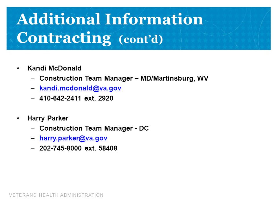Additional Information Contracting (cont'd)