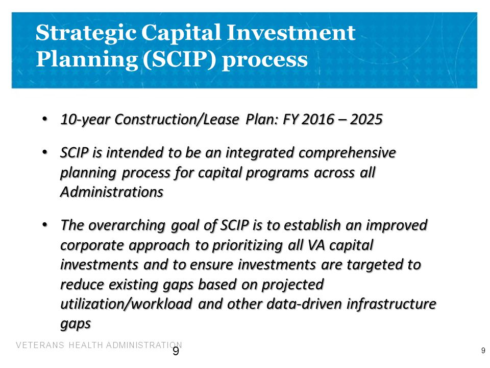Strategic Capital Investment Planning (SCIP) process