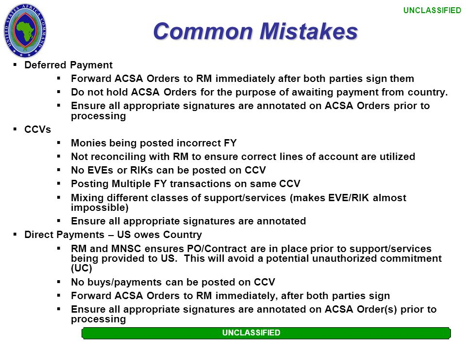Common Mistakes Deferred Payment