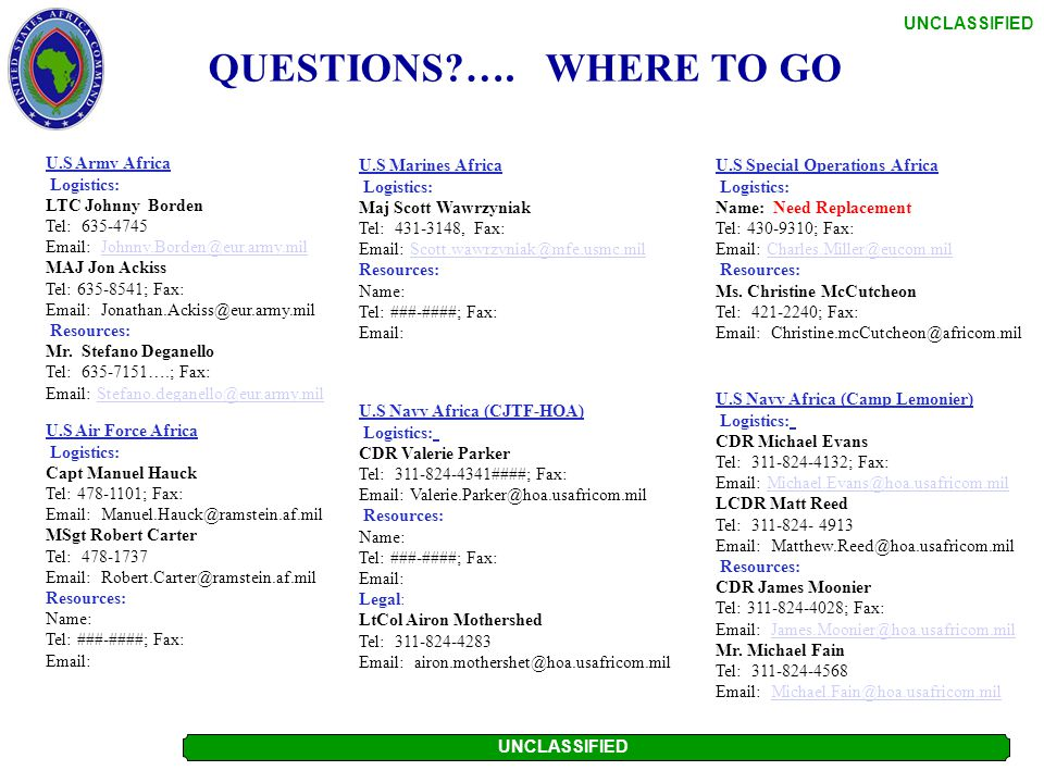 QUESTIONS …. WHERE TO GO U.S Marines Africa Logistics: