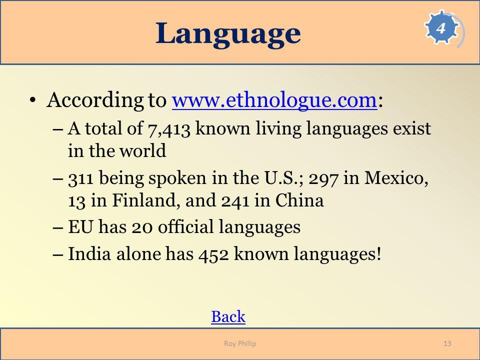 Language According to www.ethnologue.com: