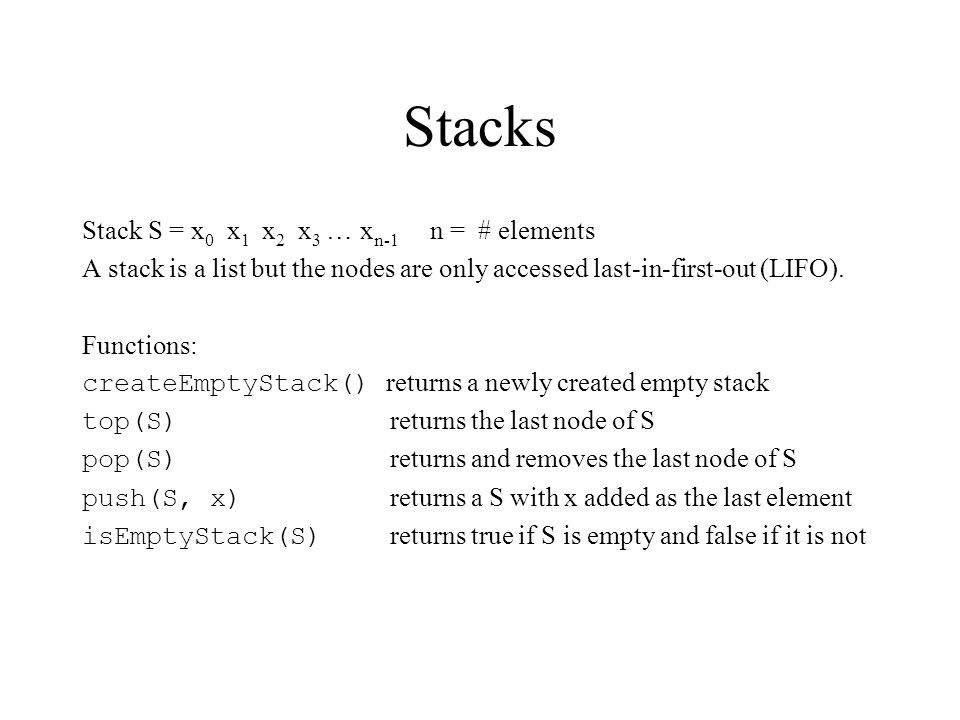 Stacks Stack S = x0 x1 x2 x3 … xn-1 n = # elements