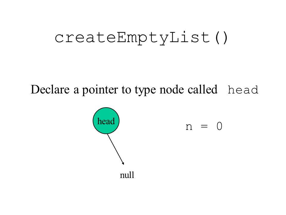 createEmptyList() Declare a pointer to type node called head n = 0