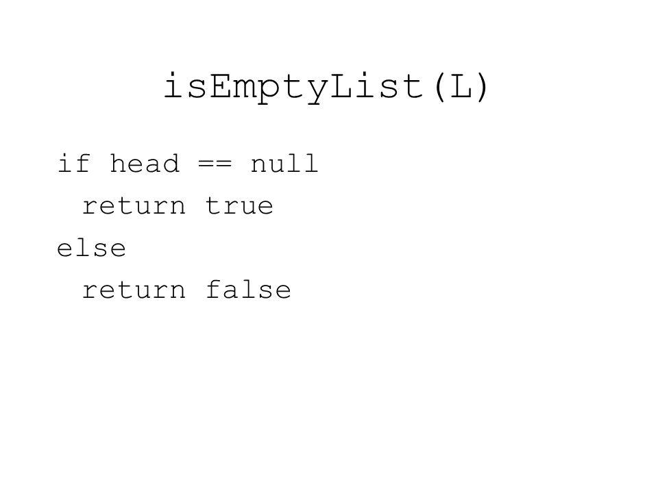 isEmptyList(L) if head == null return true else return false