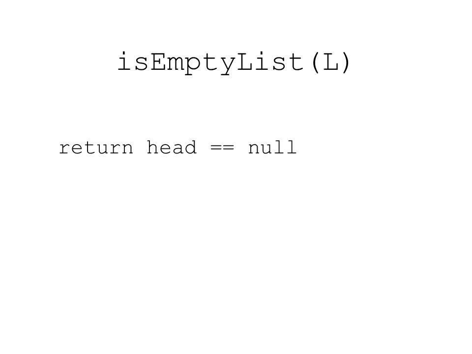 isEmptyList(L) return head == null