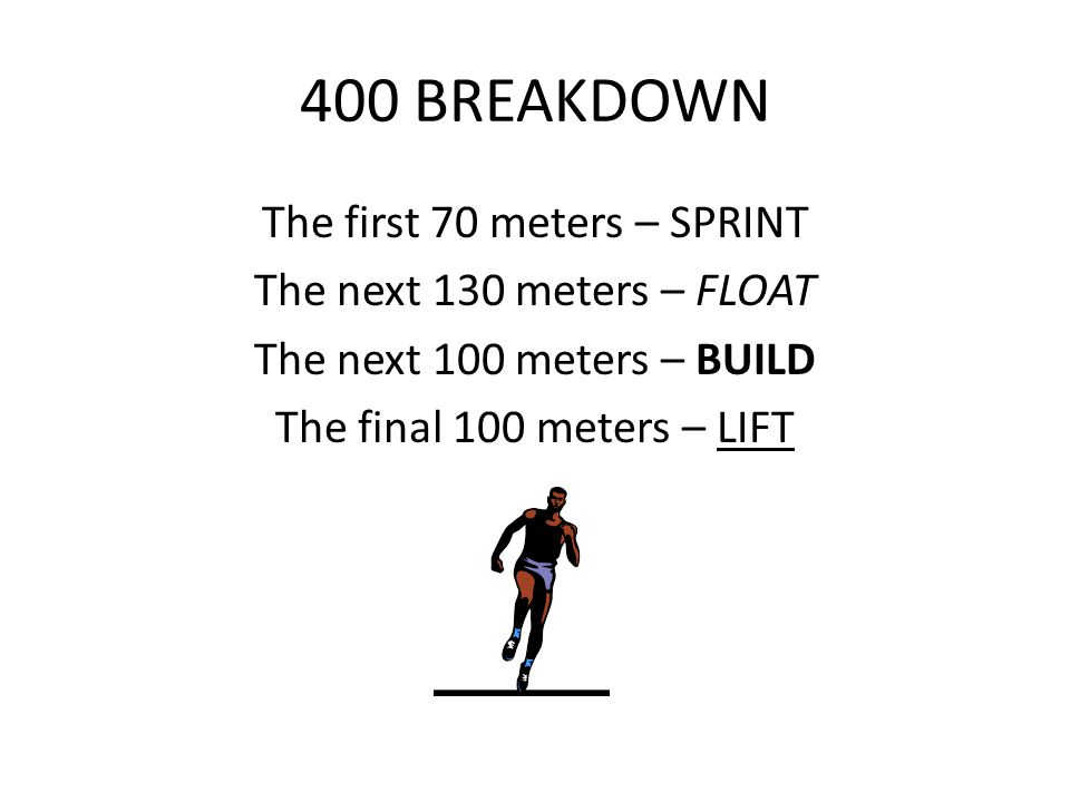 400 BREAKDOWN The first 70 meters – SPRINT The next 130 meters – FLOAT The next 100 meters – BUILD The final 100 meters – LIFT