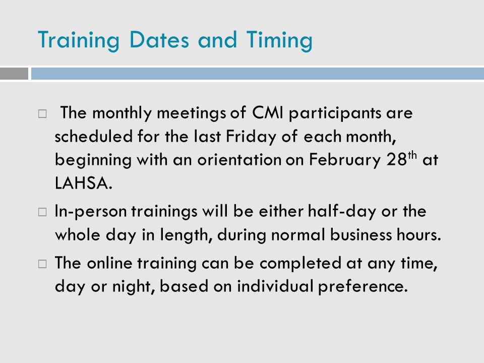 Training Dates and Timing