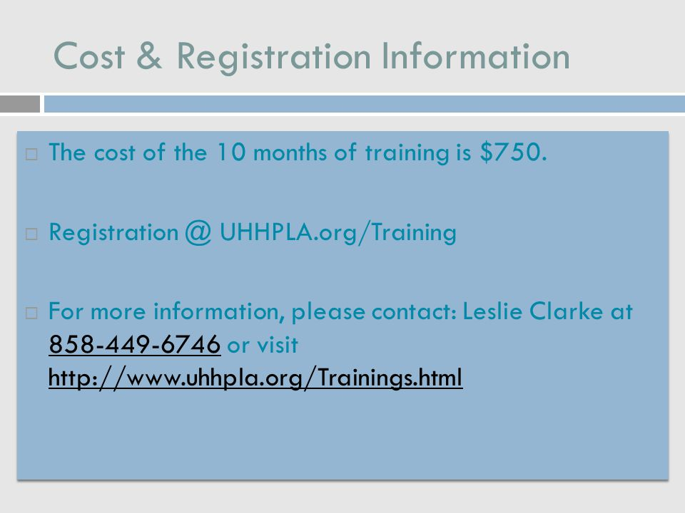 Cost & Registration Information