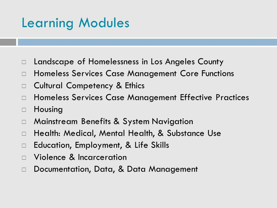 Learning Modules Landscape of Homelessness in Los Angeles County