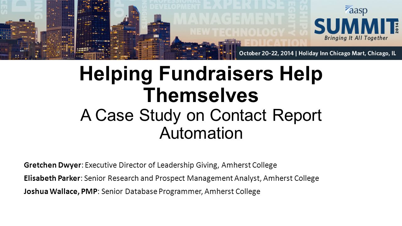 Helping Fundraisers Help Themselves A Case Study on Contact Report Automation