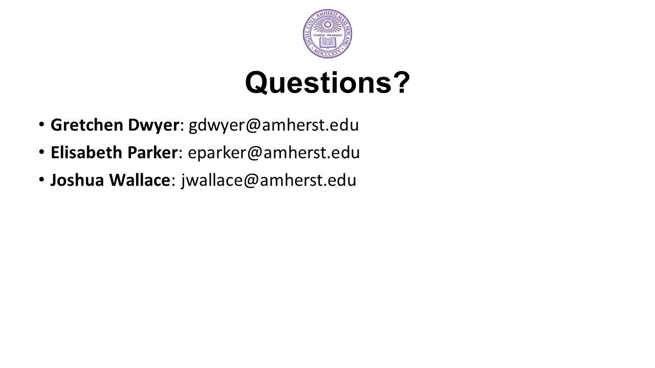 Questions Gretchen Dwyer: gdwyer@amherst.edu