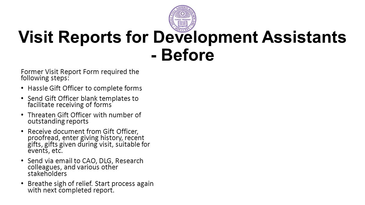 Visit Reports for Development Assistants - Before
