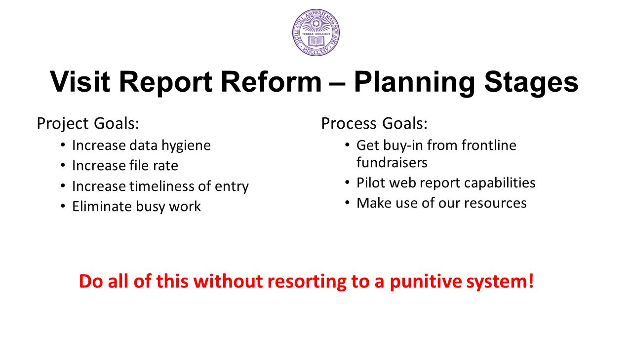 Visit Report Reform – Planning Stages