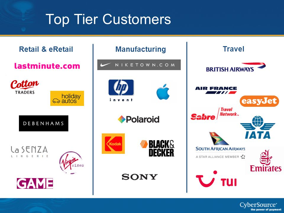 Top Tier Customers Retail & eRetail Manufacturing Travel