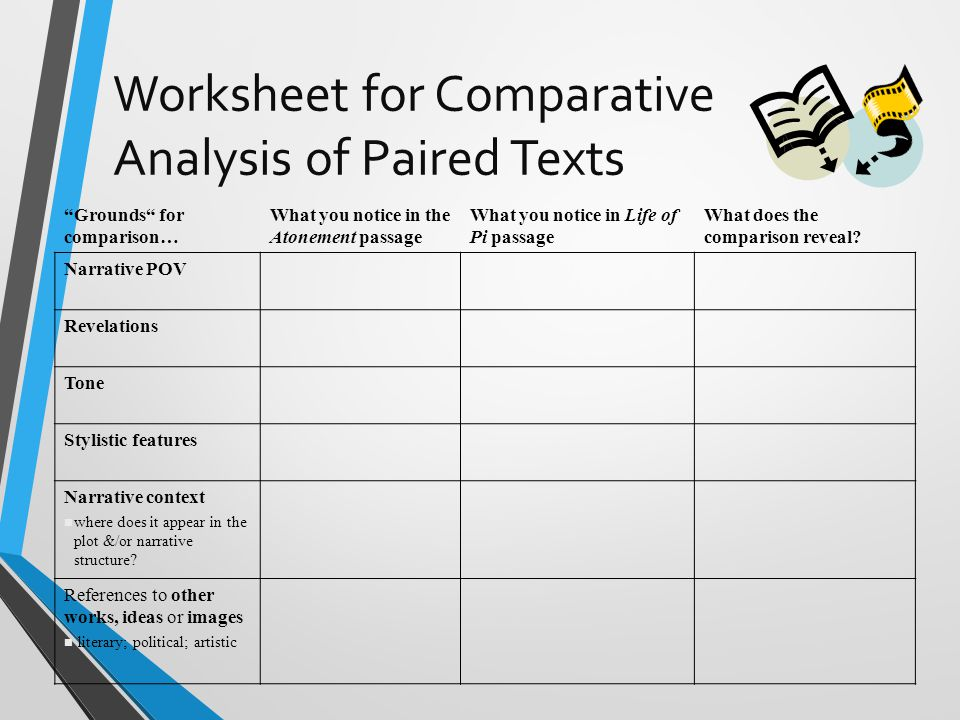 Worksheet for Comparative Analysis of Paired Texts