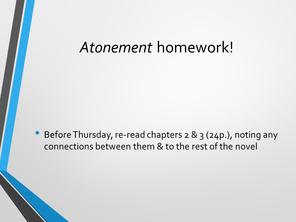 Atonement homework.