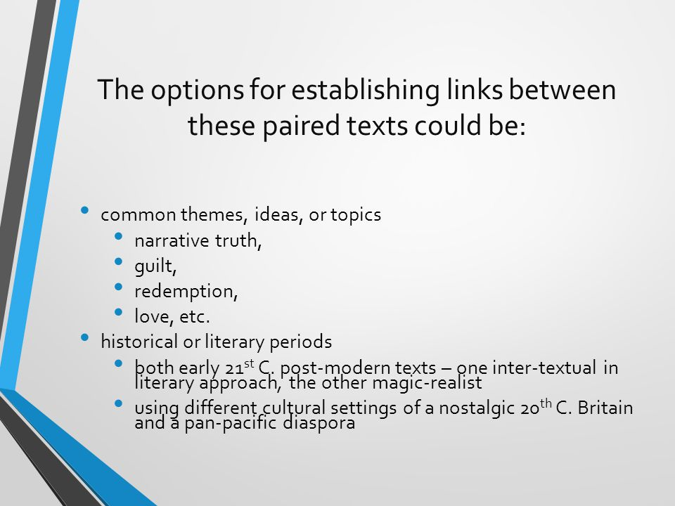 The options for establishing links between these paired texts could be: