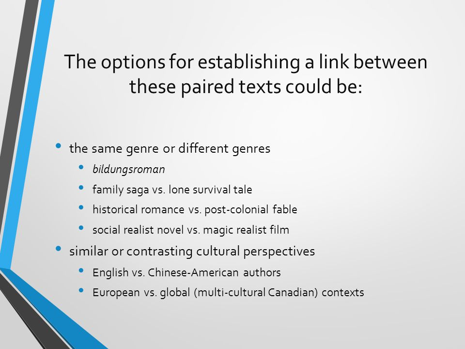 The options for establishing a link between these paired texts could be: