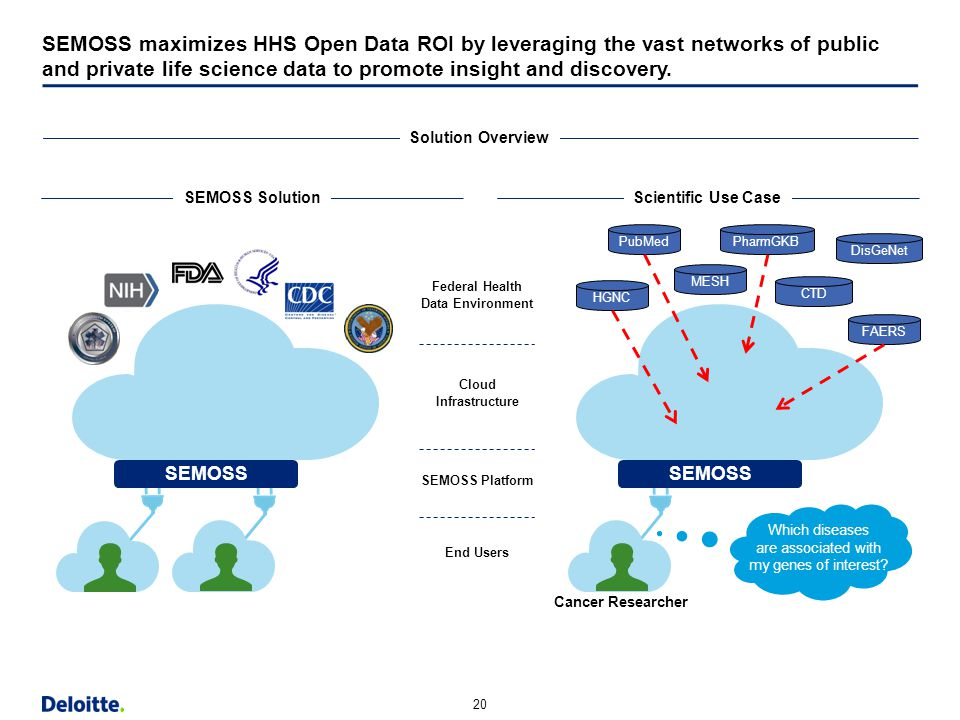 SEMOSS maximizes HHS Open Data ROI by leveraging the vast networks of public and private life science data to promote insight and discovery.