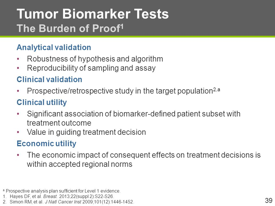 Tumor Biomarker Tests The Burden of Proof1
