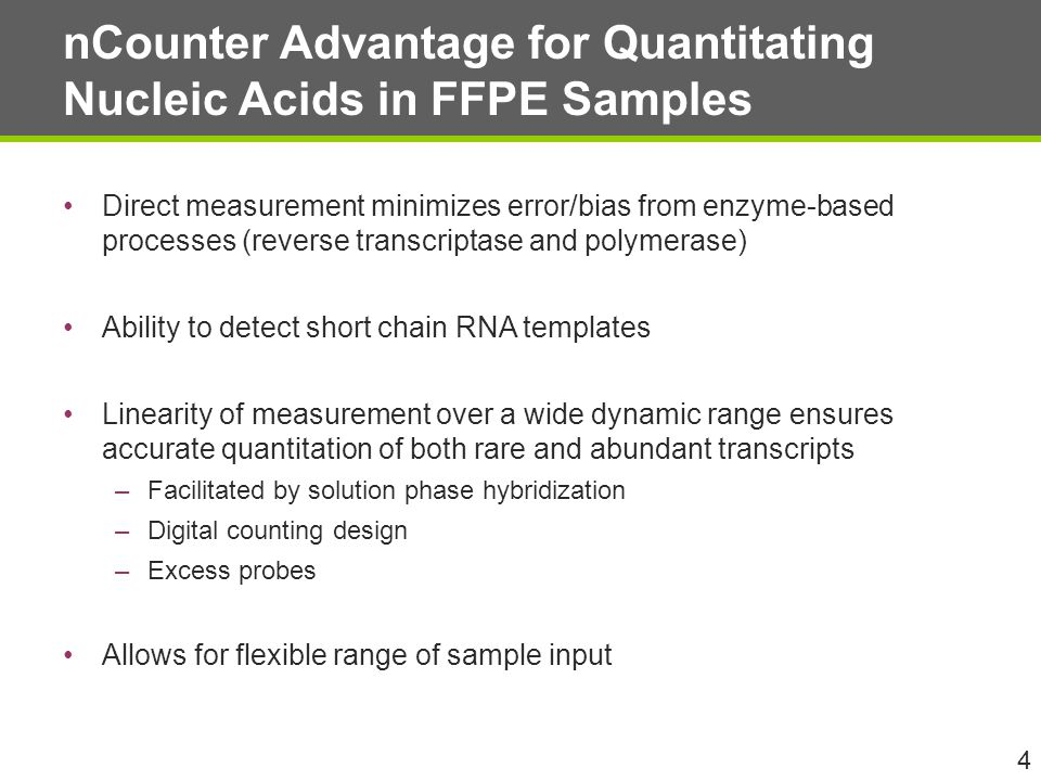nCounter Advantage for Quantitating Nucleic Acids in FFPE Samples