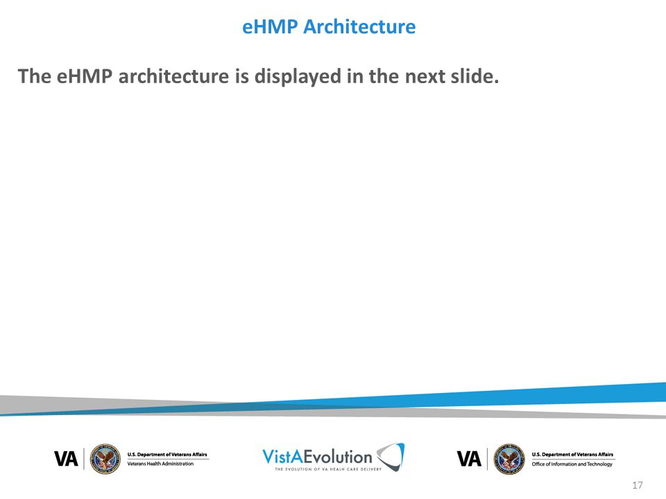 eHMP Architecture The eHMP architecture is displayed in the next slide.
