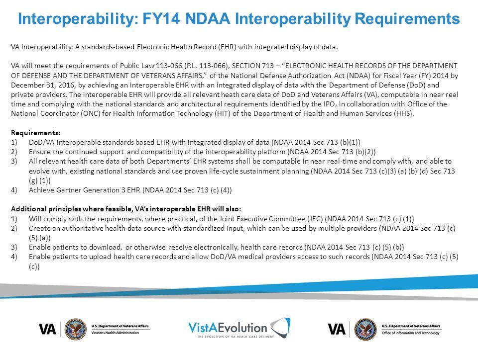 Interoperability: FY14 NDAA Interoperability Requirements