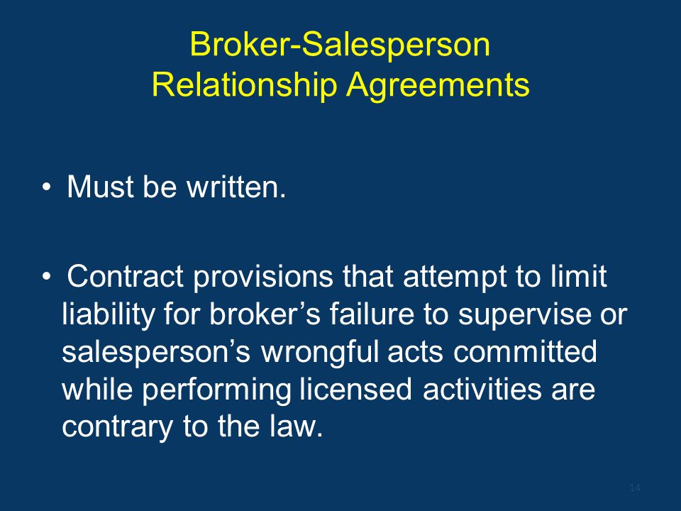 Broker-Salesperson Relationship Agreements