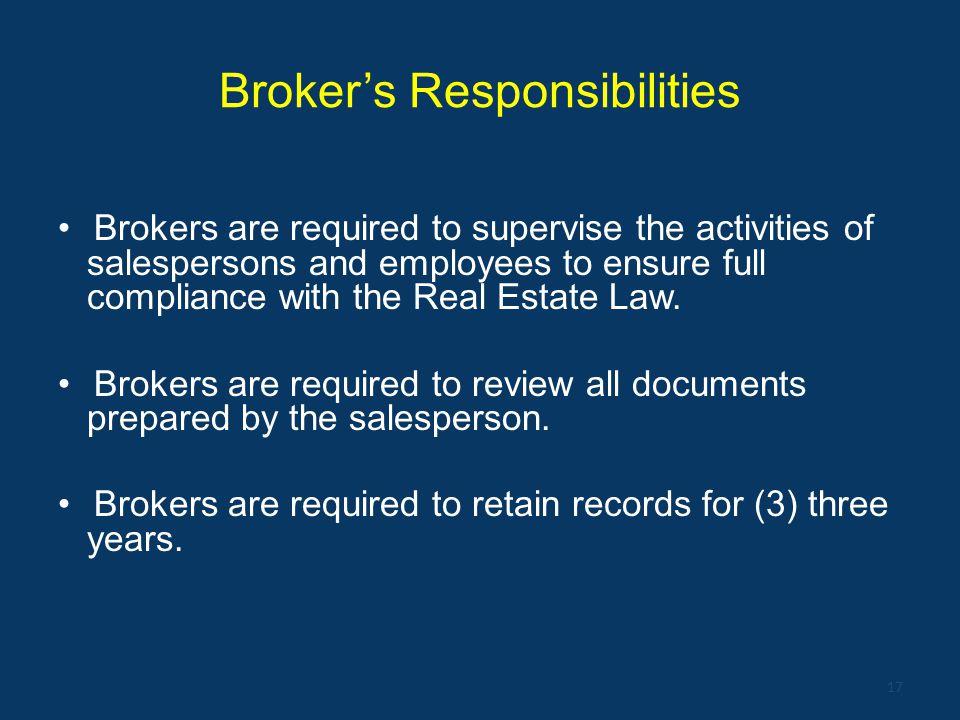 Broker's Responsibilities