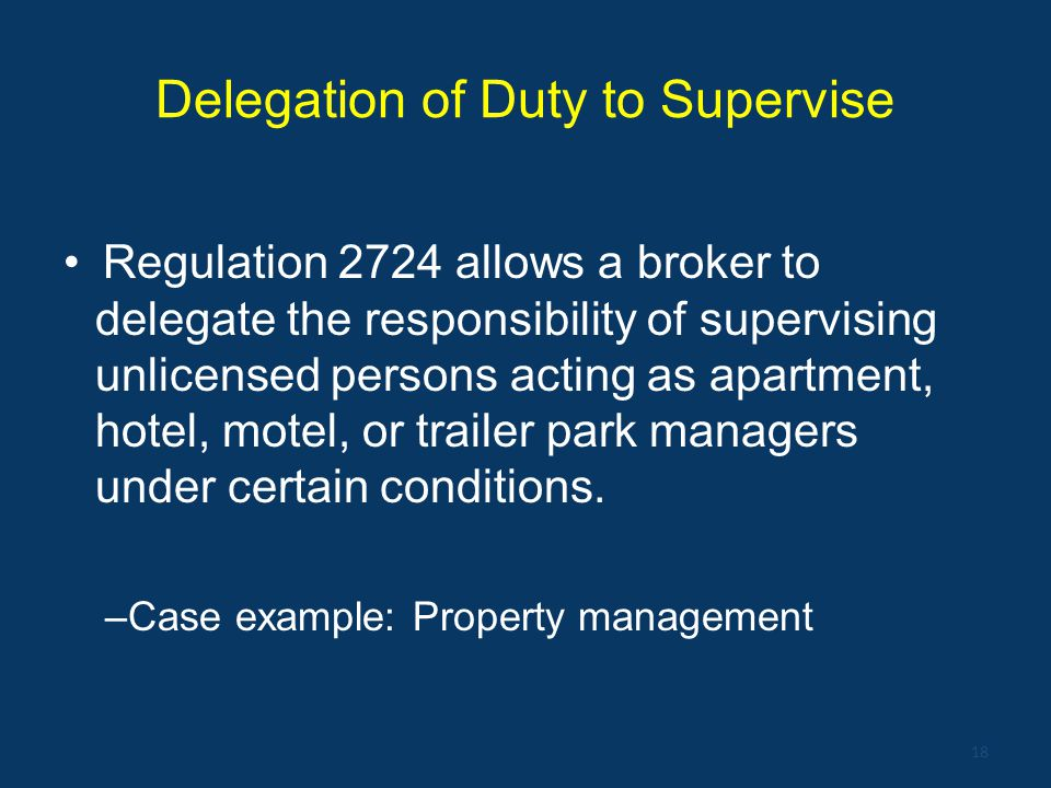 Delegation of Duty to Supervise