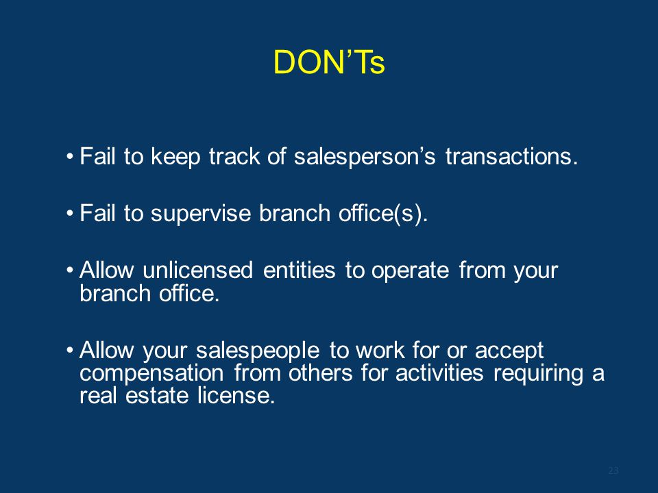 DON'Ts Fail to keep track of salesperson's transactions.