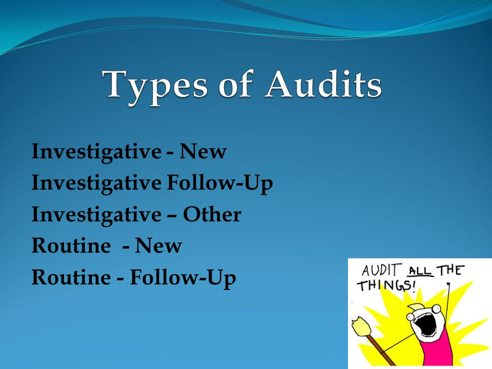 Types of Audits Investigative - New Investigative Follow-Up