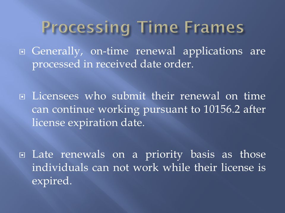 Processing Time Frames