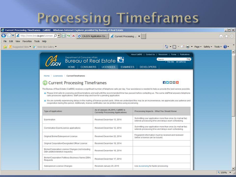 Processing Timeframes